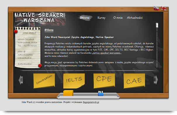 Strona internetowa dla nauczyciela angielskiego z warszawy